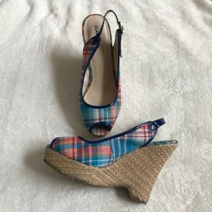 Plaid Blue and Red Wedge Heels Size 9